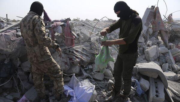 Рушевине у близини села у сиријској провинцији Идлиб после убиства лидера ДАЕШ-а  - Sputnik Србија