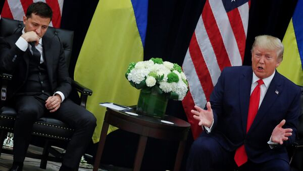 Председници Украјине и САД, Владимир Зеленски и Доналд Трамп, на састанку на маргинама заседања Генералне скупштине УН у Њујорку - Sputnik Србија