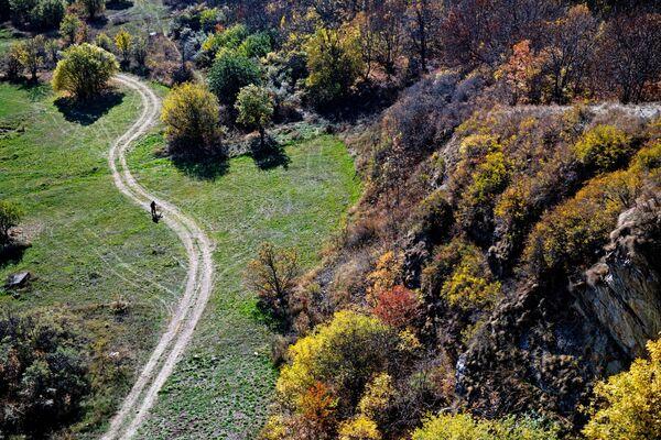 Čovek šeta putem, u blizini jezera Sevan u Jermeniji. - Sputnik Srbija