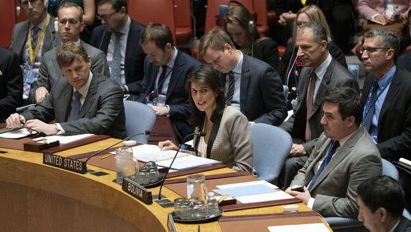 Bivša stalna predstavnica SAD u UN Niki Hejli tokom zasedanja Saveta bezbednosti UN u Njujorku - Sputnik Srbija