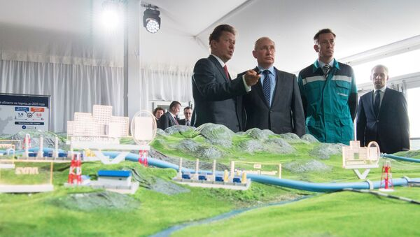 Владимир Путин на представљању макете гасовода - Sputnik Србија