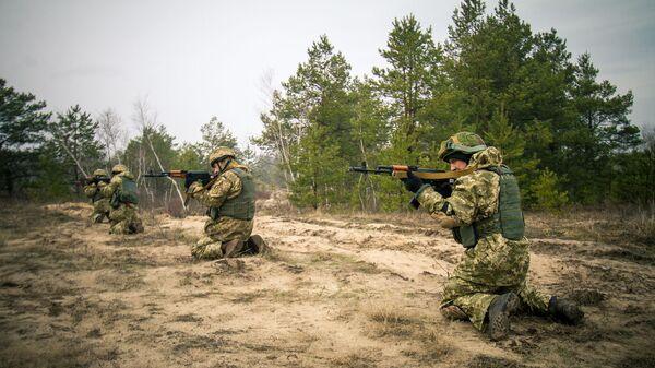 Pripadnici Oružanih snaga Ukrajine na vojnim vežbama na Rovnjenskom poligonu - Sputnik Srbija