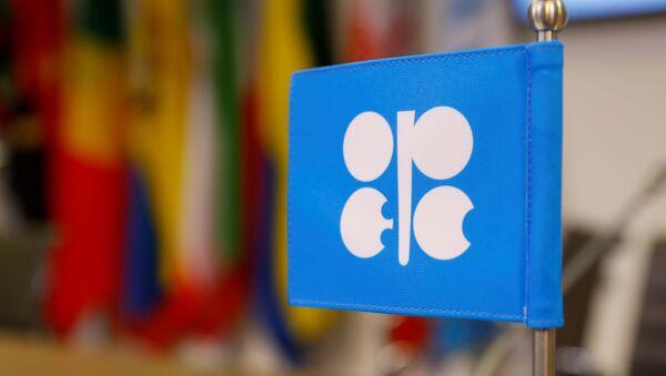 Logo Organizacije zemalja izvoznica nafte (OPEK) ispred sedišta u Beču - Sputnik Srbija
