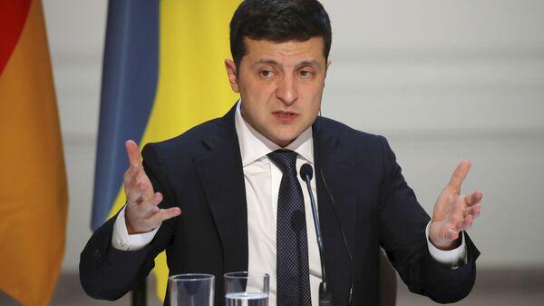 Predsenik Ukrajine Vladimir Zelenski na zajedničkoj konferenciji za medije nakon samita normandijske četvorke u Parizu - Sputnik Srbija