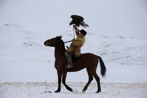 Lovac sa zlatnim orlom na konju tokom lova u Kazahstanu - Sputnik Srbija