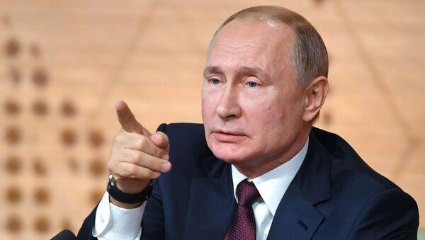 Президент РФ Владимир Путин на большой ежегодной пресс-конференции, 19 декабря 2019 - Sputnik Србија