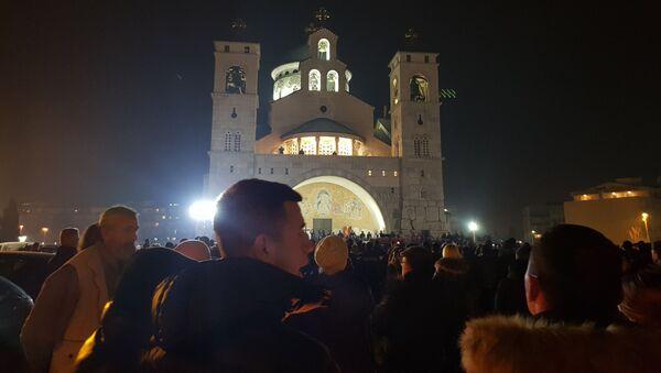 Молебан испред храма у Подгорици - Sputnik Србија
