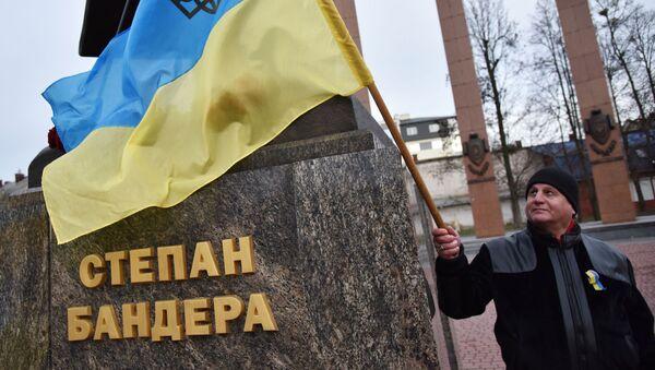 Учесник украјинског марша националиста поводом рођендана Степана Бандере   - Sputnik Србија
