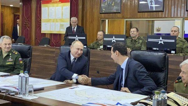 Predsednici Rusije i Sirije, Vladimir Putin i Bašar Asad, na sastanku u Damasku - Sputnik Srbija