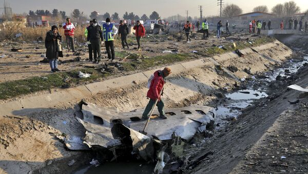 Spasioci na mestu pada ukrajinskog aviona koji se srušio jugozapadno od Teherana u Iranu - Sputnik Srbija