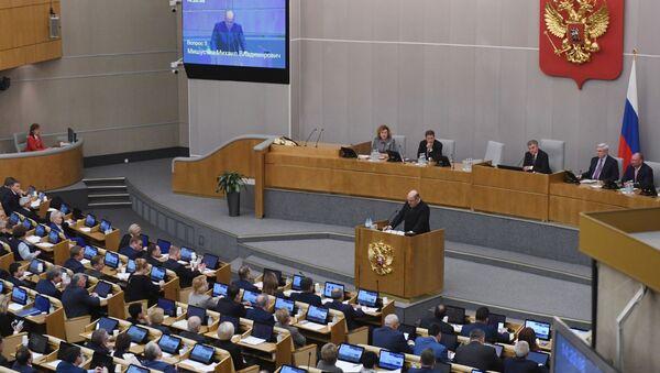 Novi premijer Rusije Mihail Mišustin obraća se poslanicima Državne dume Rusije - Sputnik Srbija