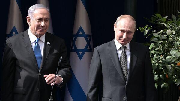 Премијер Израела Нетанијаху и председник Русије Владимир Путин након састанка у Јерусалиму - Sputnik Србија