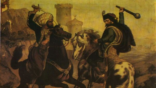 Марко Краљевић и Муса Кесеџија, насликао Владислав Тителбах, око 1900. - Sputnik Србија