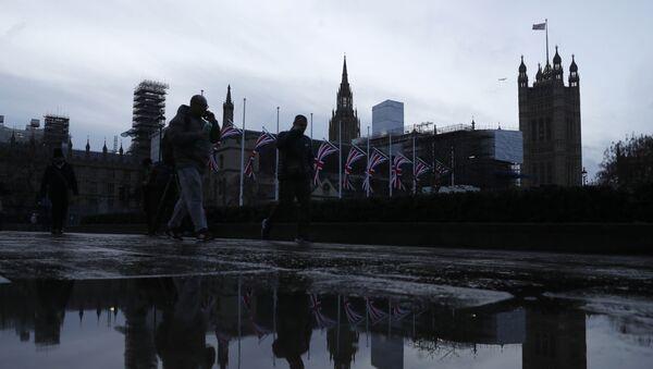 Zastave Velike Britanije ispred Vestminsterske palate u Londonu - Sputnik Srbija