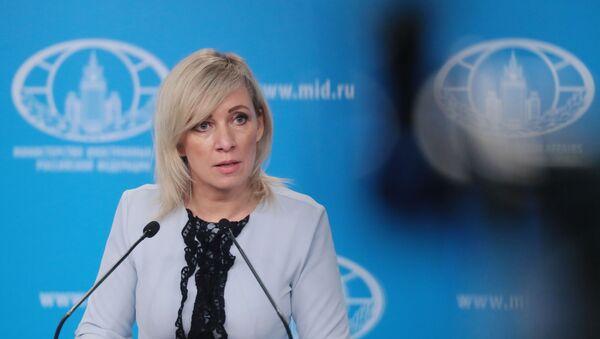 Portparolka Ministarstva spoljnih poslova Rusije Marija Zaharova na redovnom brifingu - Sputnik Srbija