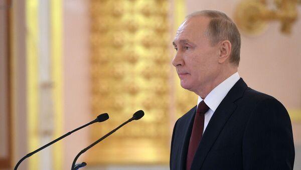 Председник Русије Владимир Путин обраћа се новим амбасадорима страних земаља у Русији - Sputnik Србија