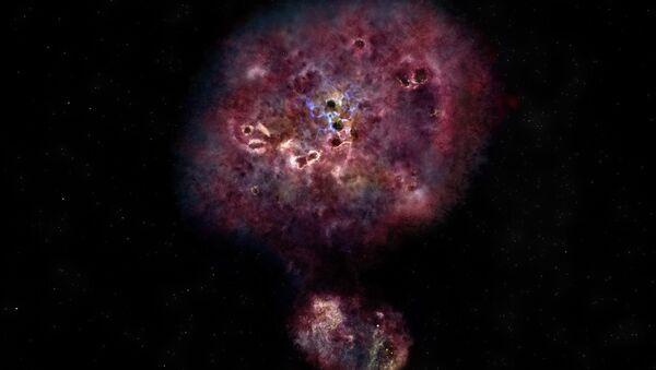 Umetnički utisak o ogromnoj, prašnjavoj galaksiji. Ovo je slično onome kako je Iks-Em-Em 2599 izgledala u vidljivoj svetlosti kada je formirala svoje zvezde - Sputnik Srbija