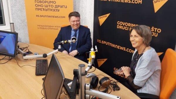 Gradonačelnik Kjahte Evgenije Stepanov u Sputnjikovom studiju sa glavnom urednicom Ljubinkom Milinčić - Sputnik Srbija