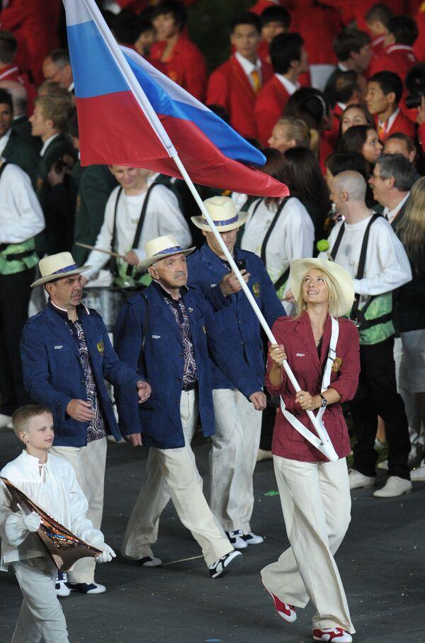 Teniserka Ruske reprezentacije Marija Šarapova na ceremoniji otvaranja letnjih olimpijskih igara u Londonu. - Sputnik Srbija