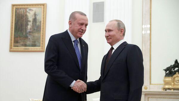 Ruski predsednik Vladimir Putin rukuje se sa turskim predsednikom Redžepom Erdoganom tokom sastanka u Moskvi - Sputnik Srbija