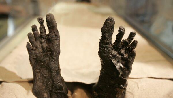 Стопала мумије египатског краља Тутанкамона у гробу у Долини Крљева у Луксору.  - Sputnik Србија