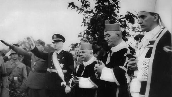 Alojzije Stepinac, hrvatksi kardinal, sa predstavnicima nacista u Drugom svetskom ratu. - Sputnik Srbija