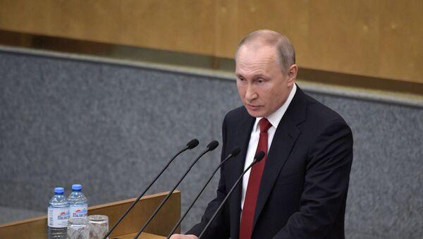Председник Русије Владимир Путин говори у Државној думи Русије - Sputnik Србија