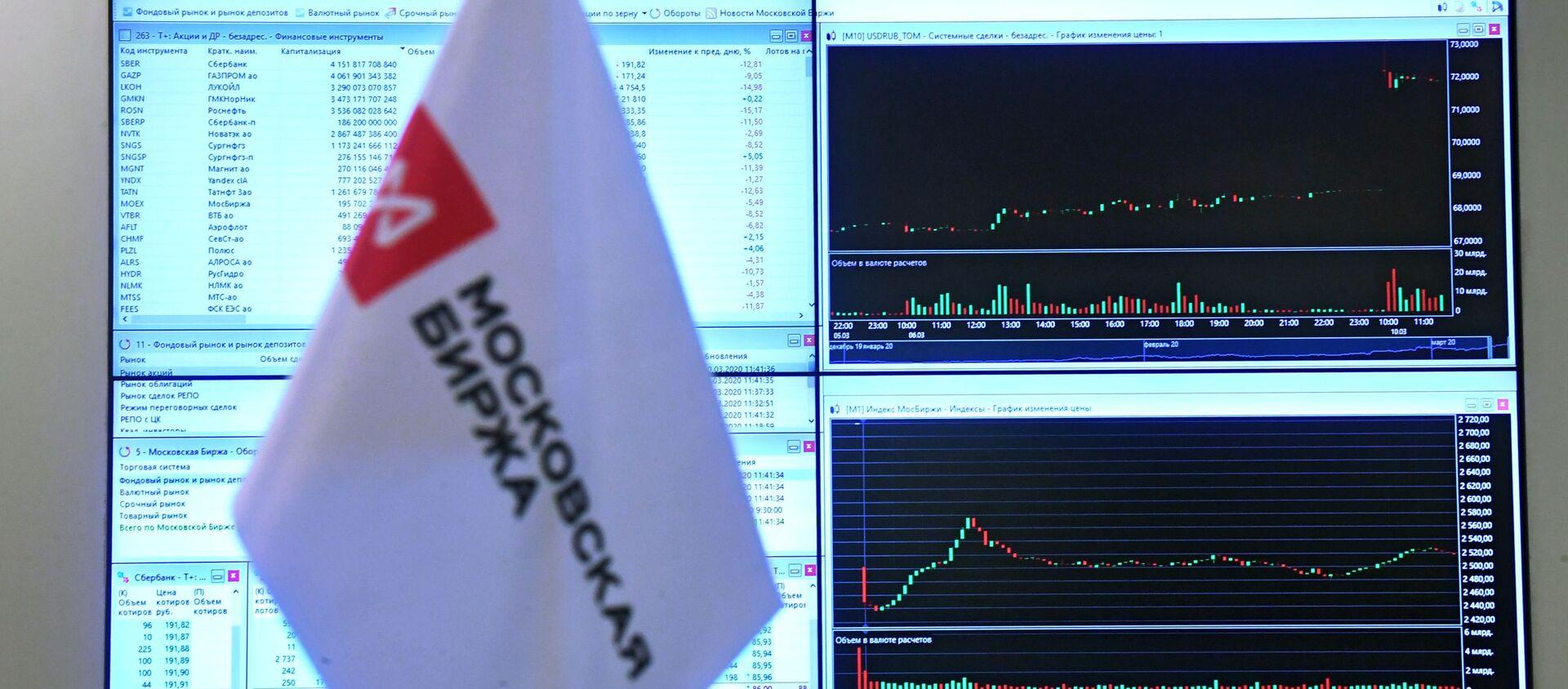 Монитор са интерактивним графикама курса долара, евра и нафте на Московској берзи - Sputnik Србија, 1920, 04.03.2021