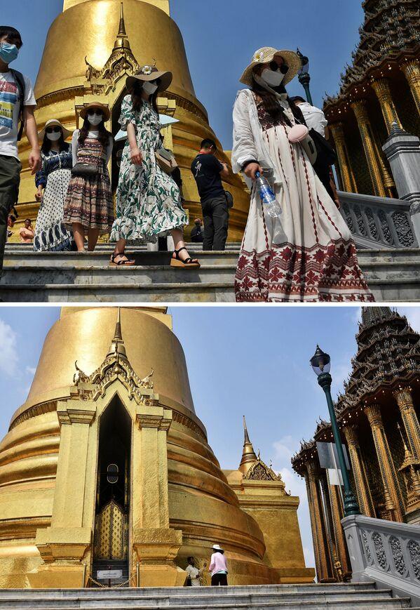 Велика краљевска палата у Бангкоку 29. јануара и 2. марта 2020. године. - Sputnik Србија
