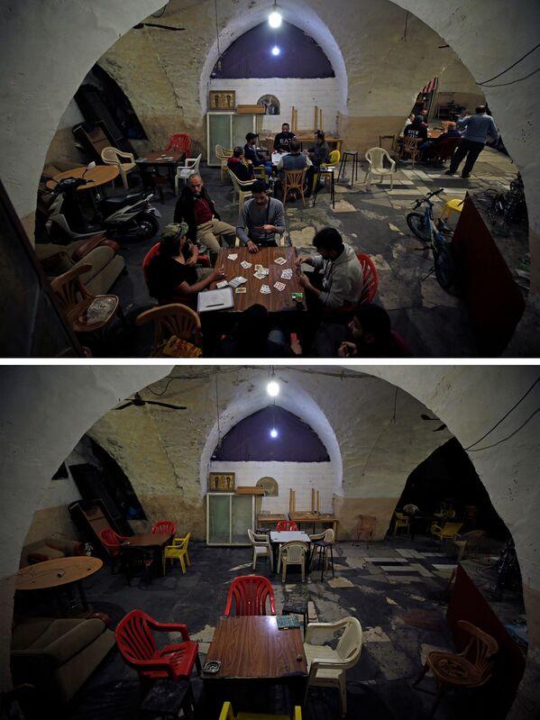 Кафетерија у Сидону у Либану, 12. и 16. марта 2020. године: пре и после, у земљи је проглашено ванредно стање 15. марта. - Sputnik Србија