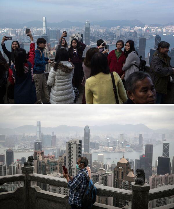 Викторија пик у Хонгконгу 26. децембра 2015. и 7. марта 2020. године. - Sputnik Србија