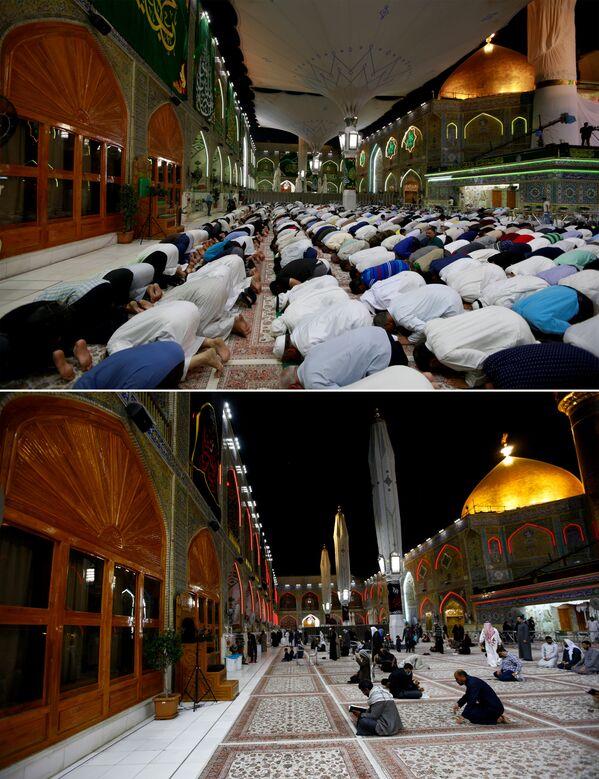 Џамија Али де Најаф у Ираку 2. септембра 2019. и 11. марта 2020. године. - Sputnik Србија