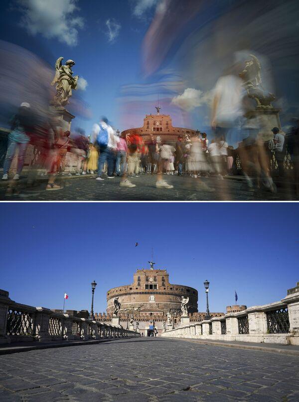Мост Сант Анђело у Риму 24. септембра 2019. и 11. марта 2020. године. - Sputnik Србија