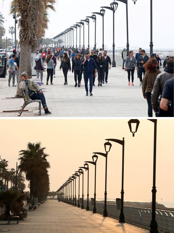 Шеталиште Корниче у Бејруту, пре 15. марта 2020. године и после њега. - Sputnik Србија