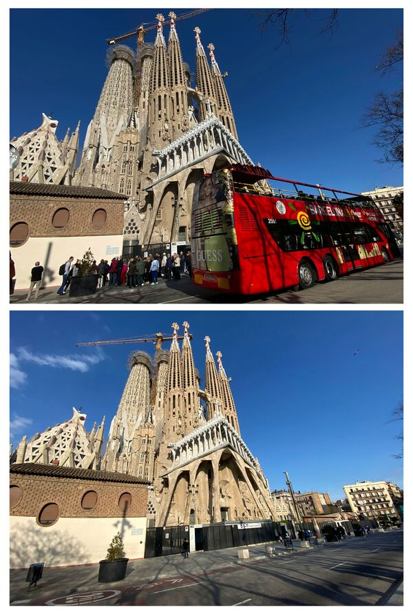 Базилика Саграда фамилија у Барселони пре 13. марта 2020. године и после њега, када су радови престали због пандемије коронавируса. - Sputnik Србија