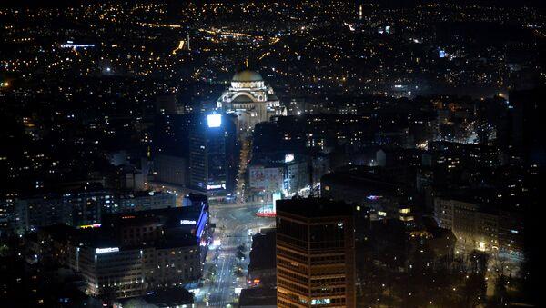 Pogled iz helikoptera, Beograd noću. - Sputnik Srbija