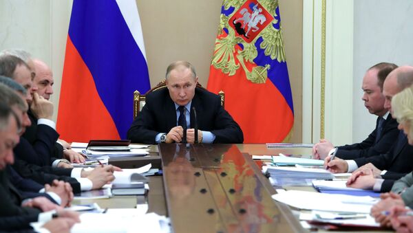 Председник Русије Владимир Путин на седници Владе Русије - Sputnik Србија