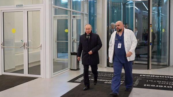 Poseta predsednika Rusije Vladimira Putina bolnici u kojoj se nalaze pacijenti zaraženi virusom korona - Sputnik Srbija