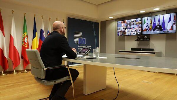 Председник Европског савета Шарл Мишел током видео-конференције са лидерима земаља-чланица Г20 - Sputnik Србија