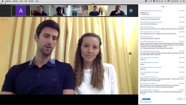Novak i Jelena Đoković tokom video-konferencije sa novinarima - Sputnik Srbija