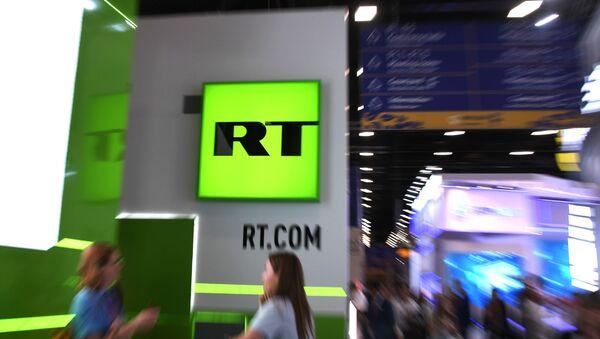 Štand televizije RT na Međunarodnom ekonomskom forumu u Sankt Peterburgu - Sputnik Srbija