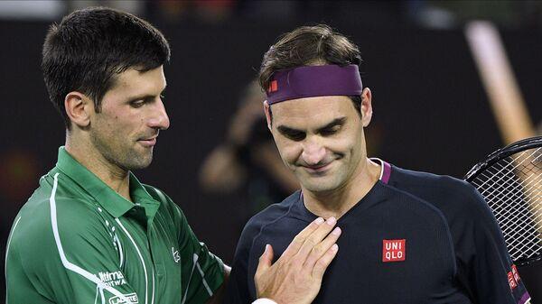 Novak Đoković i Federer - Sputnik Srbija