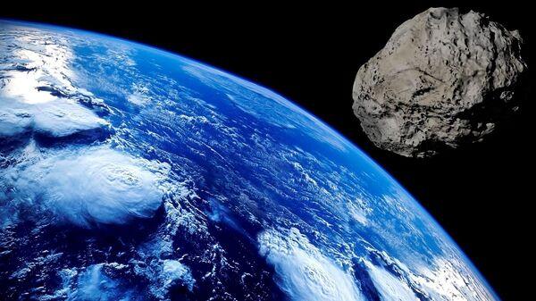 Planeta Zemlja i asteroid – ilustracija - Sputnik Srbija