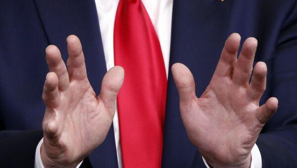 Ruke američkog predsednika Donalda Trampa tokom konferencije za medije u Beloj kući - Sputnik Srbija