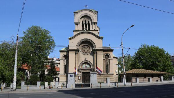 Crkva Svetog Aleksandra Nevskog u Beogradu za vreme policijskog časa - Sputnik Srbija