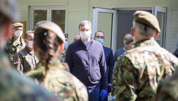 Predsednik Srbije Aleksandar Vučićč prilikom  otvaranja VMC na Karaburmi - Sputnik Srbija
