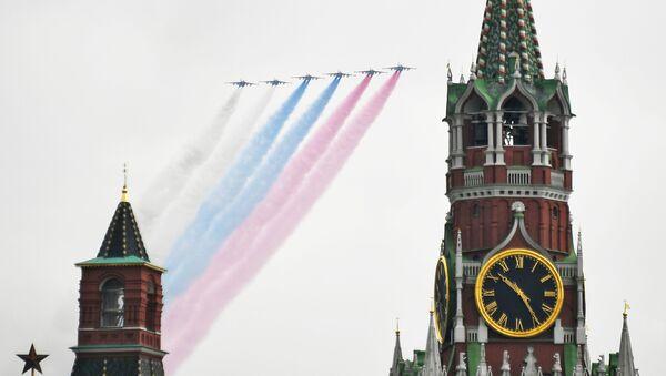 Јуришни авиони Су-25 на проби ваздушног дела Параде победе у Москви - Sputnik Србија
