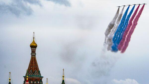 Јуришни авиони Су-25 током ваздушног дела Параде победе у Москви - Sputnik Србија