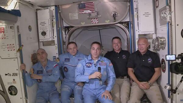 Posada Međunarodne svemirske stanice nakon dočeka dva američka astronauta koja su doletela brodom Kru Dragon kompanije Spejsiks - Sputnik Srbija