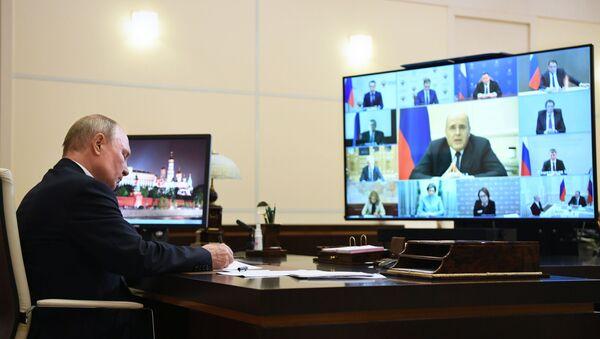 Председник Владимир Путин и премјер Михаил Мишустин - Sputnik Србија
